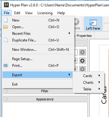 export card options