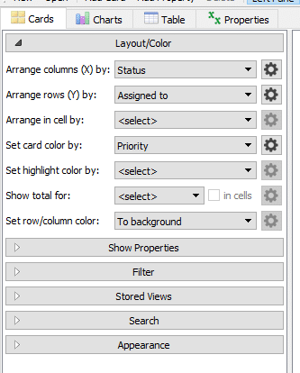 card layout options